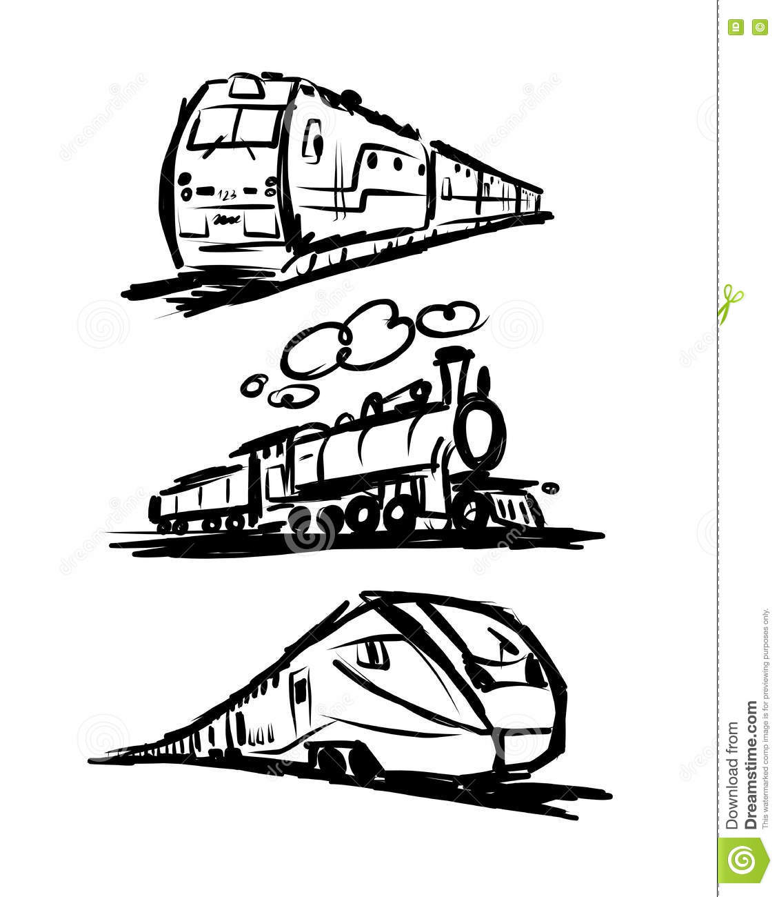 Speed Train Sketch For Your Design Stock Vector