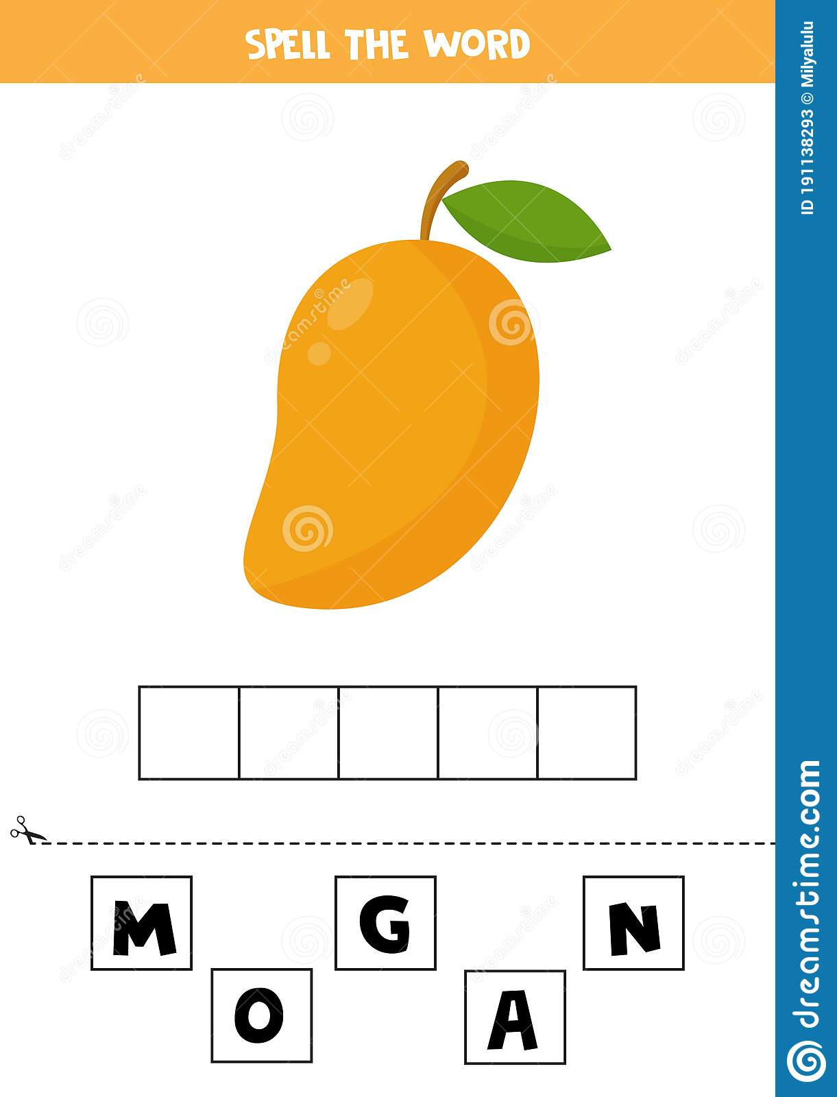Spelling Game For Kids With Cute Cartoon Mango Stock