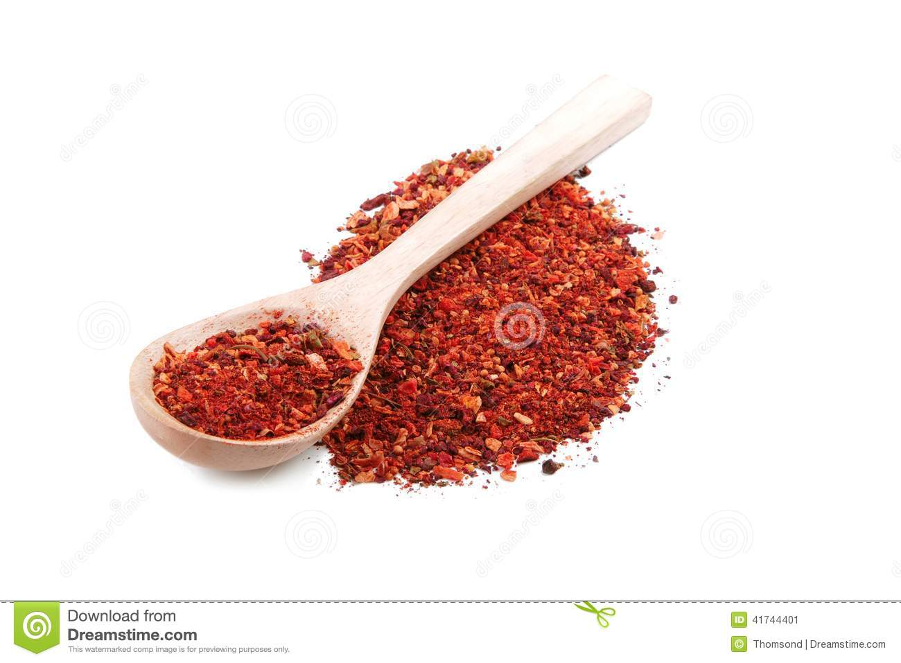 Madeira Gewürz Spice Mix With Dried Red Pepper In Wooden Spoon Stock ...