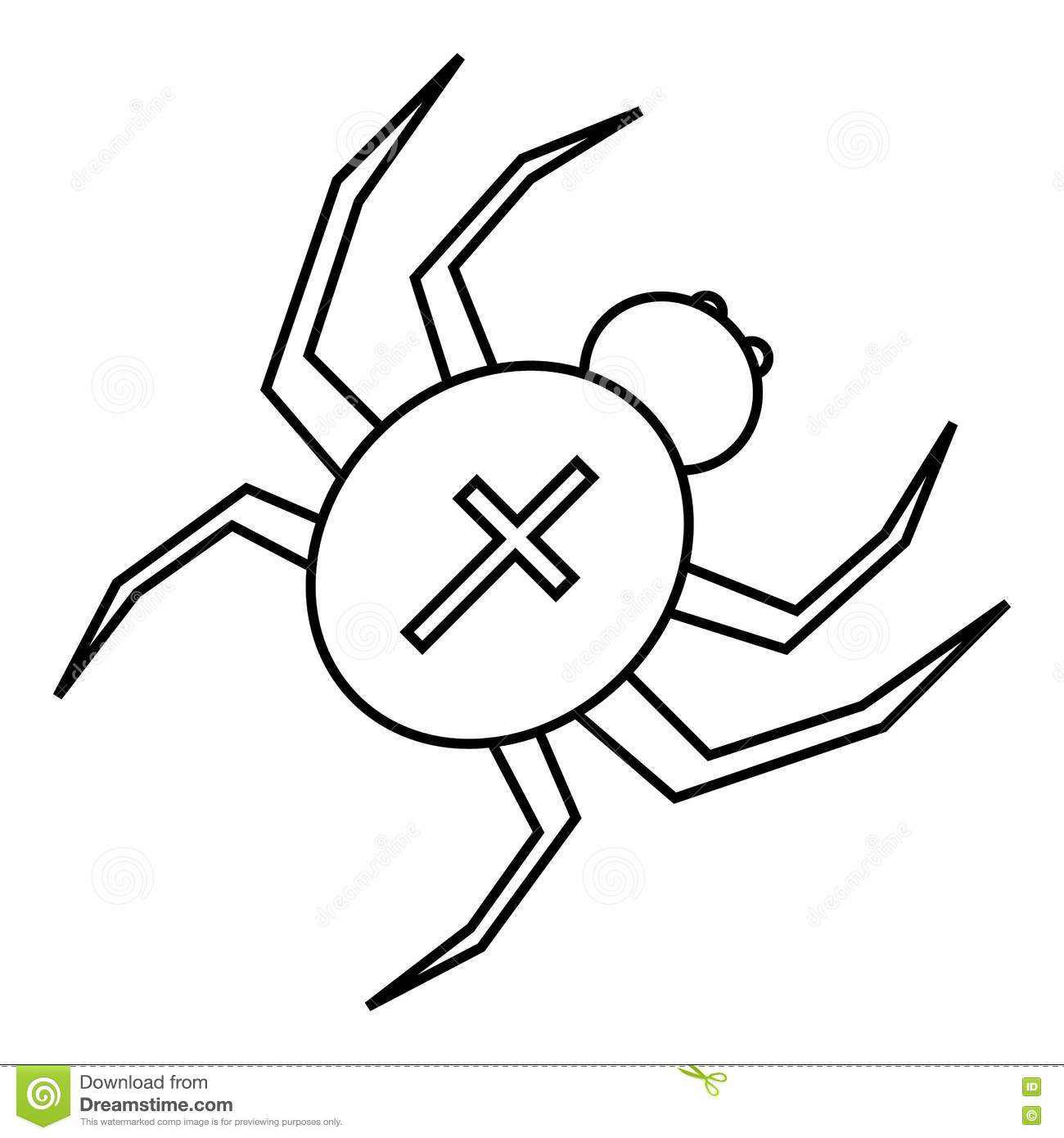 Spider With Cross On Back Icon Outline Style Stock Vector
