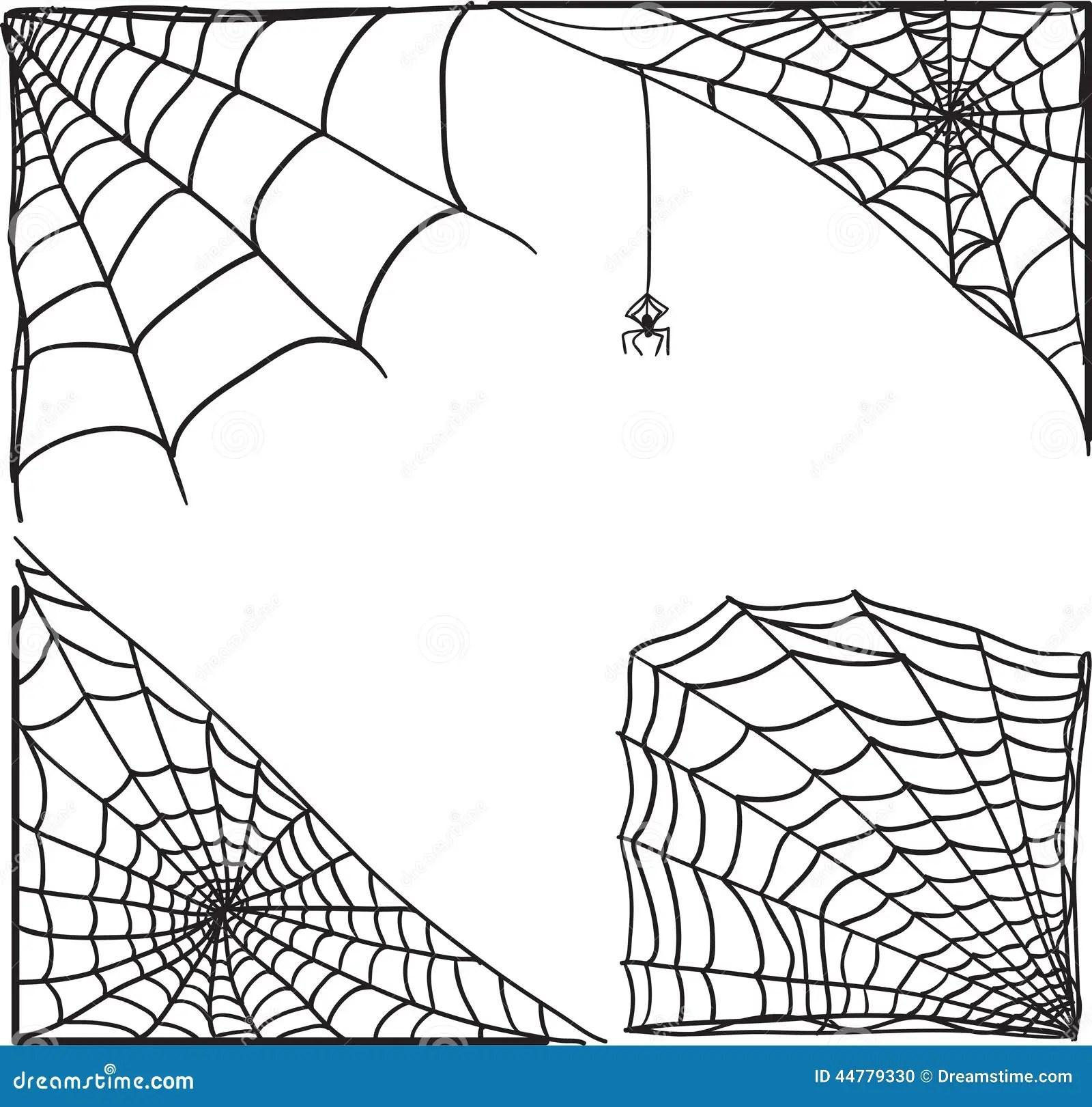 Spider Web Corner Set Stock Vector