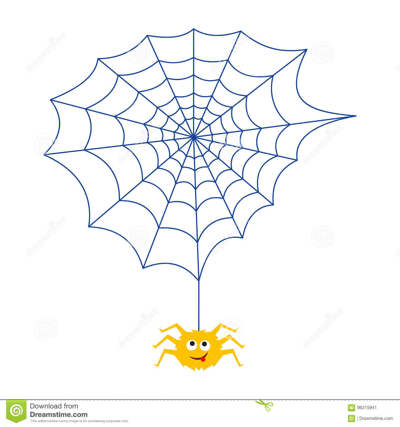 The Spider And The Web Insect Animation Stock Vector