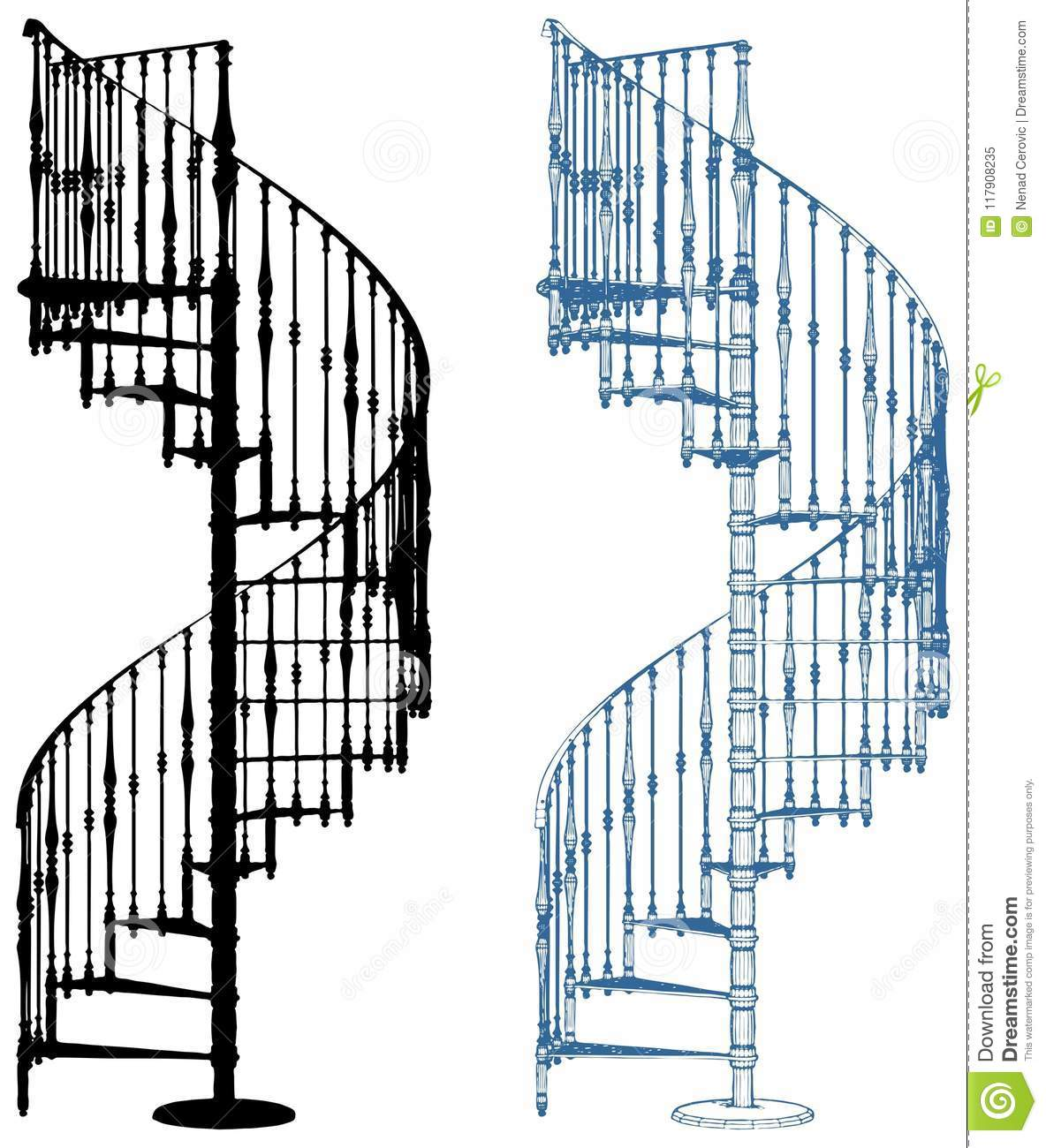 hight resolution of spiral staircase isolated on white vector