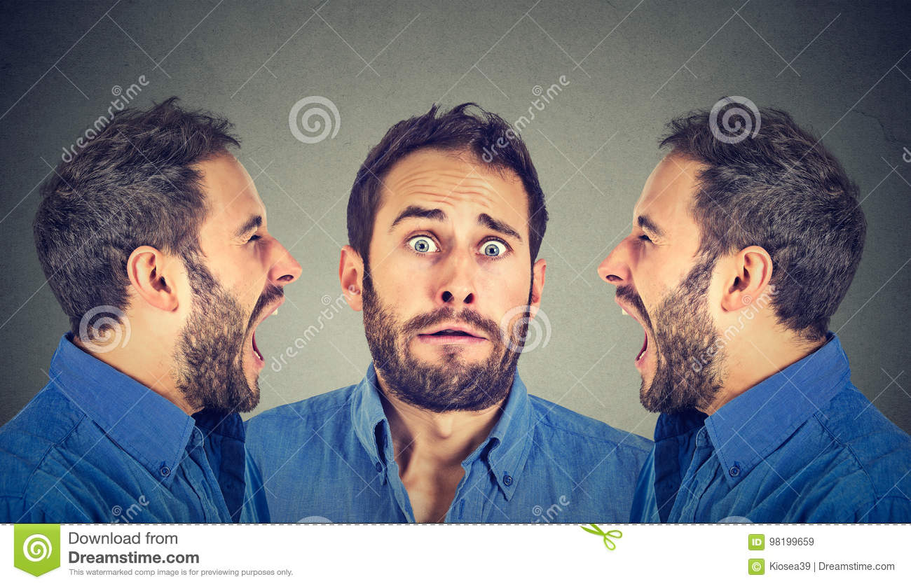 Split Personality Two Angry Men Screaming At Scared