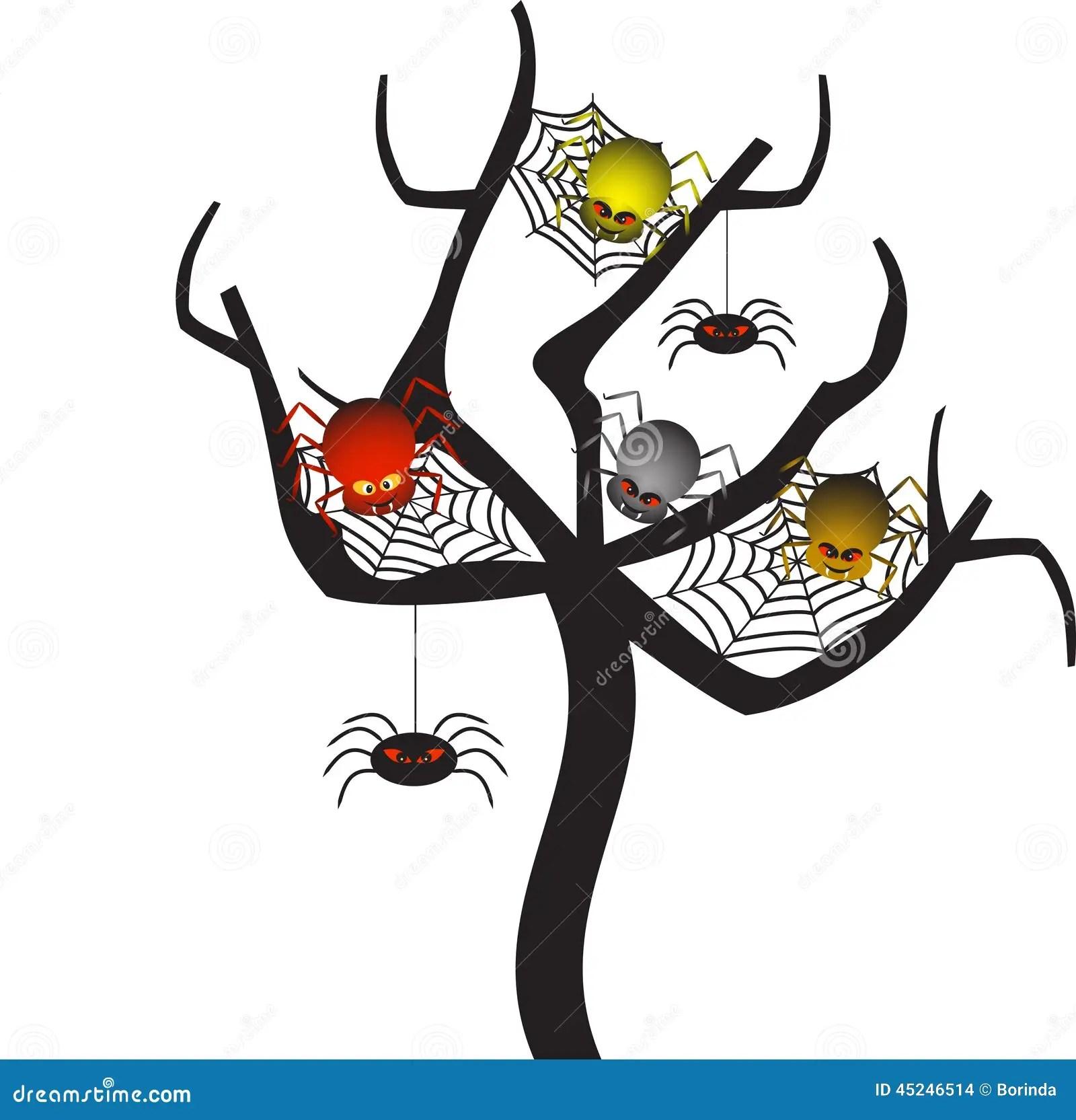 hight resolution of spooky spider webs tree tree vector