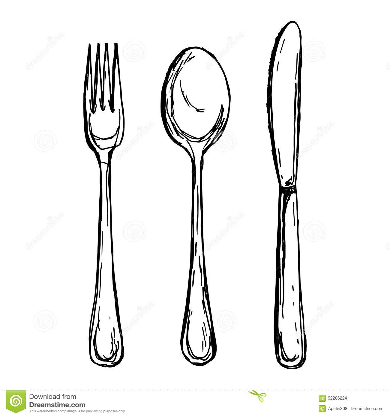 Vector Illustration Of Vintage Spoon Fork And Knife