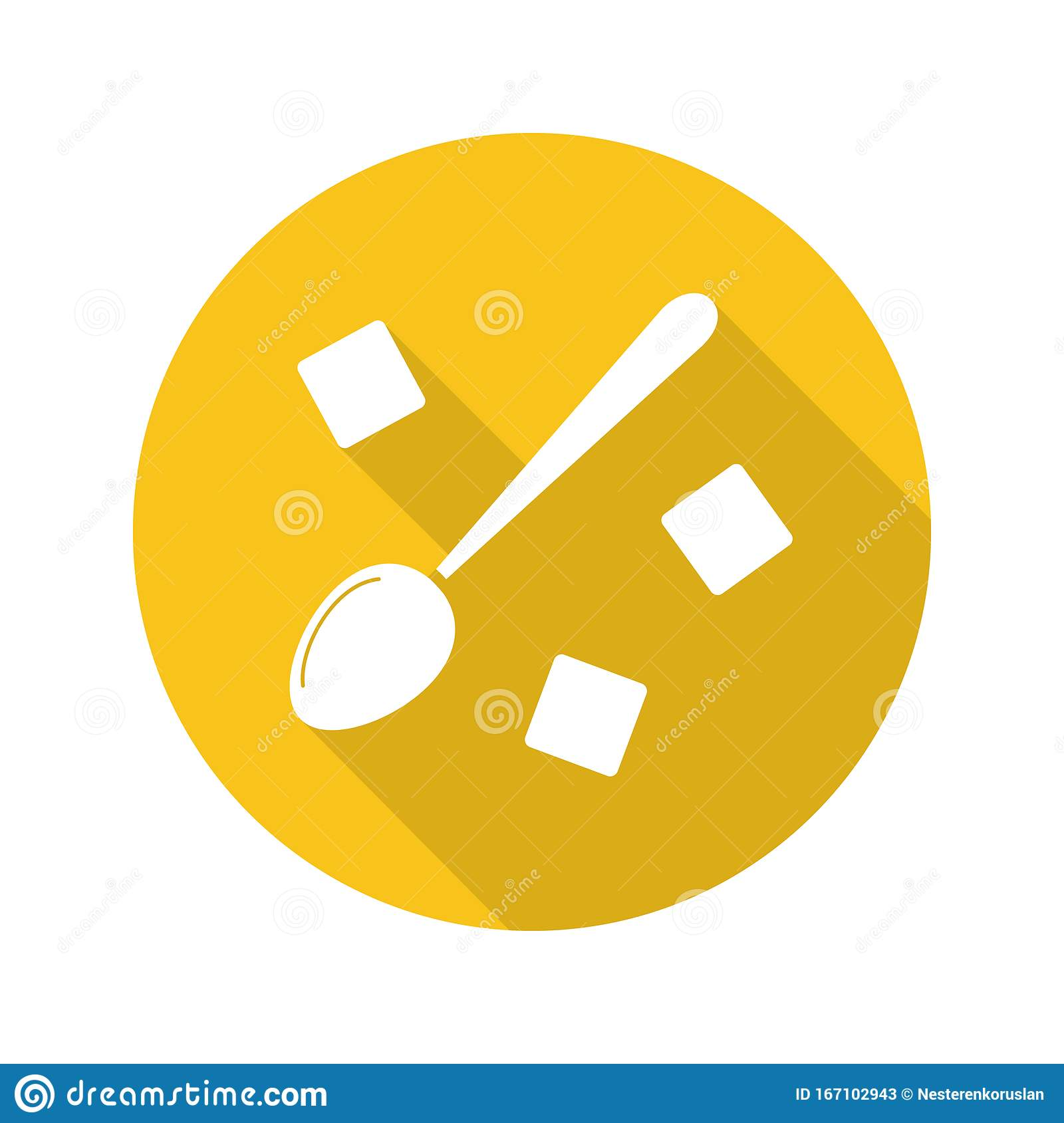 Spoon With Refined Sugar Cubes Flat Design Long Shadow