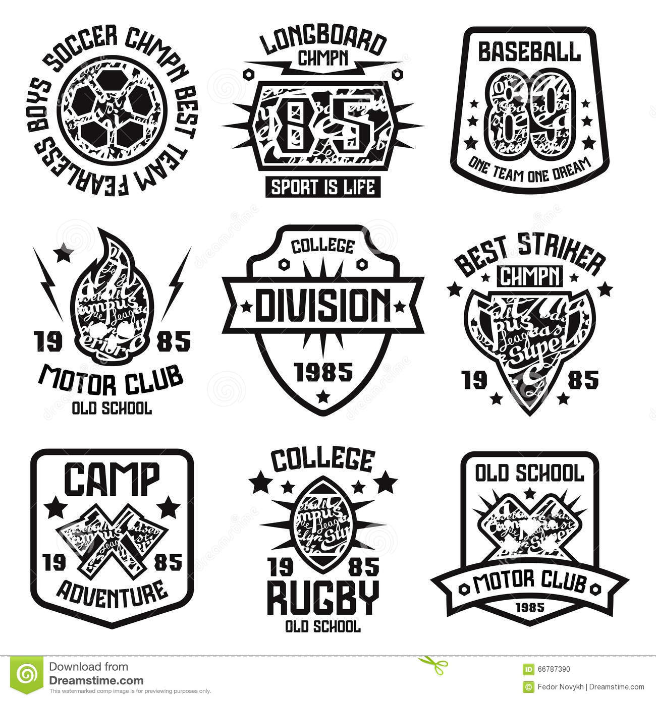 Sport Badges Graphic Design For T Shirt Stock Vector
