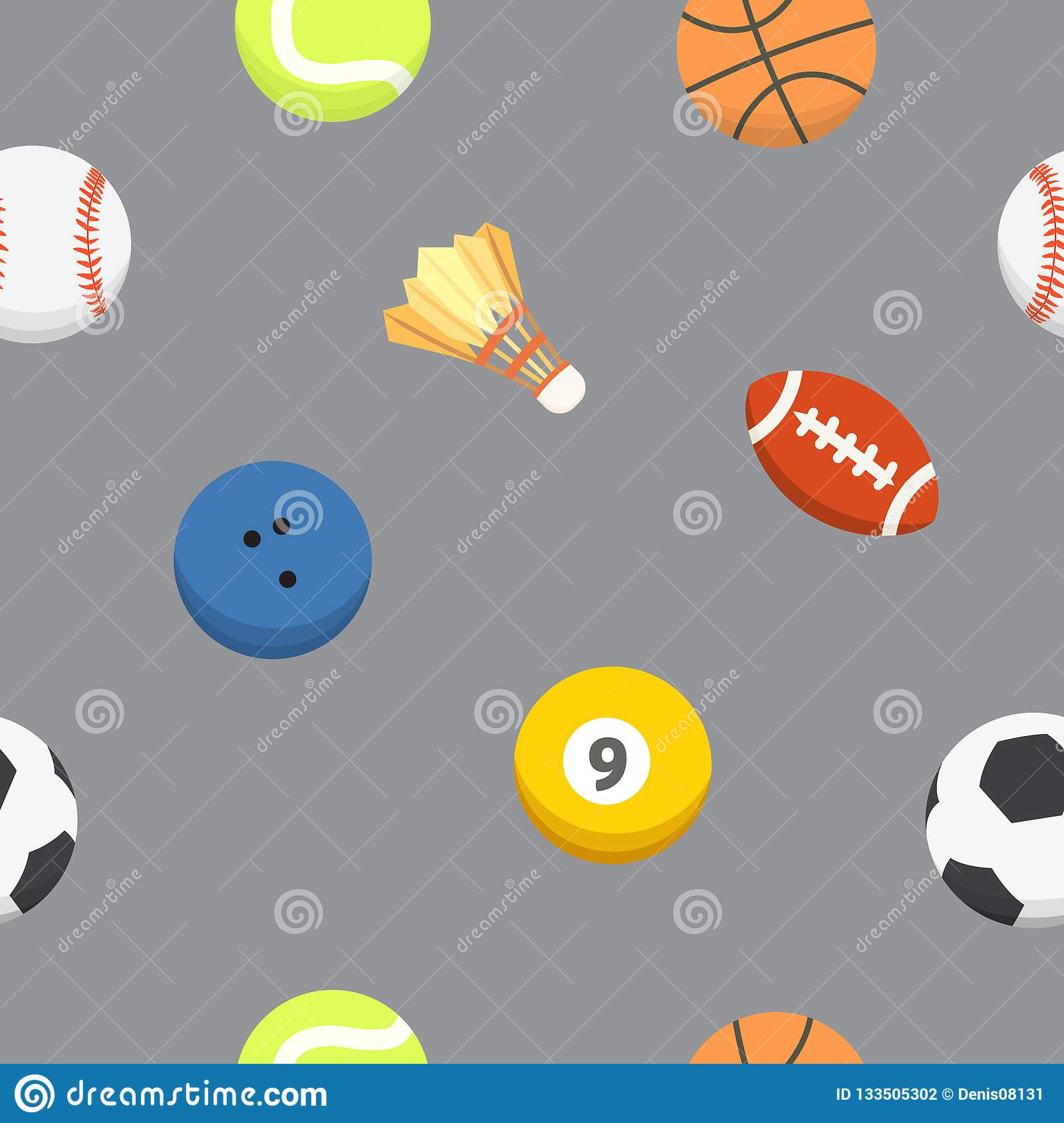 Sport Ball Pattern Vector Seamless Background Sporting