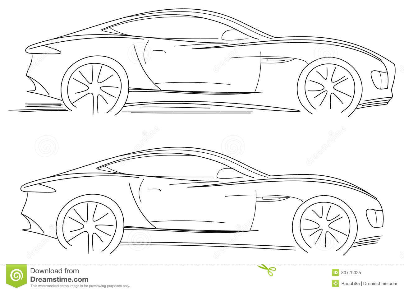 Sport Car Sketch stock vector. Image of isolated, engine