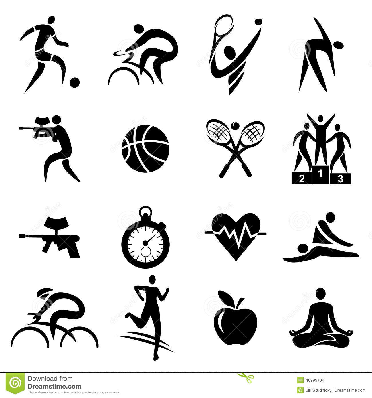 Sport Fitness Healthy Lifestyle Icons Stock Vector
