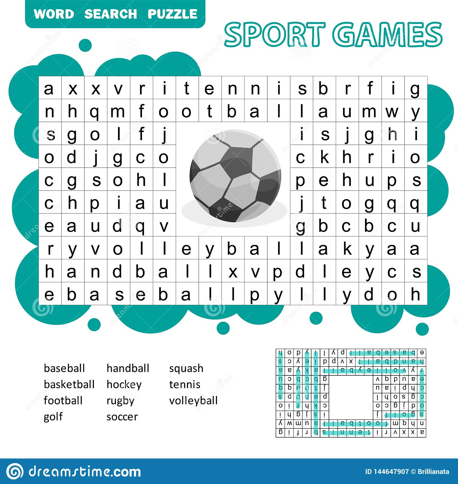 Sport Games Themed Word Search Puzzle For Kids Answer