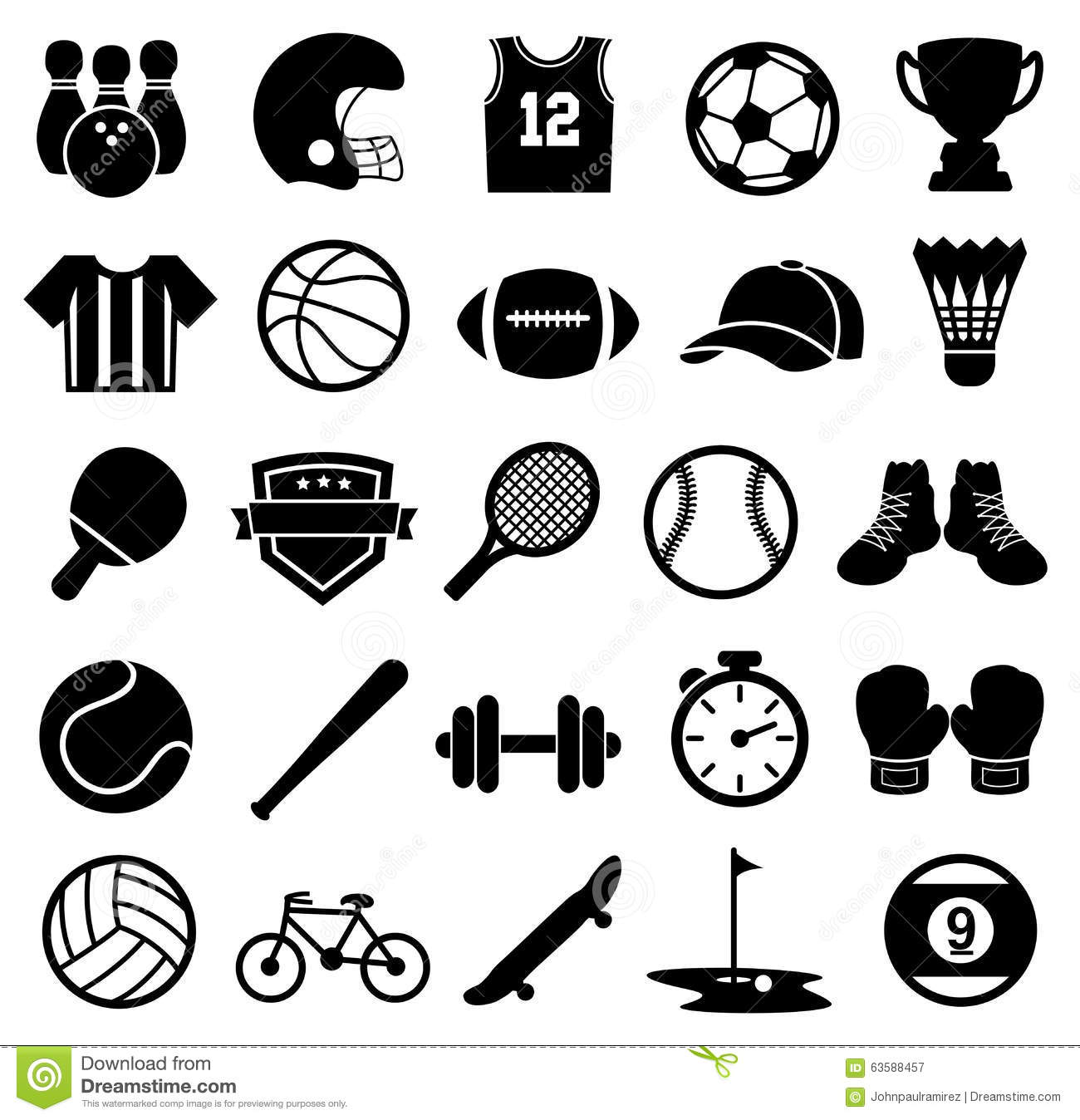 Sport Icons, Silhouette, Sports And Fitness Stock Vector