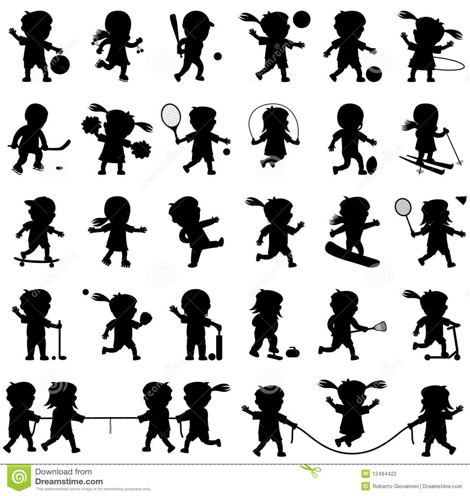 Sport Kids Silhouettes Set Stock Vector Illustration Of
