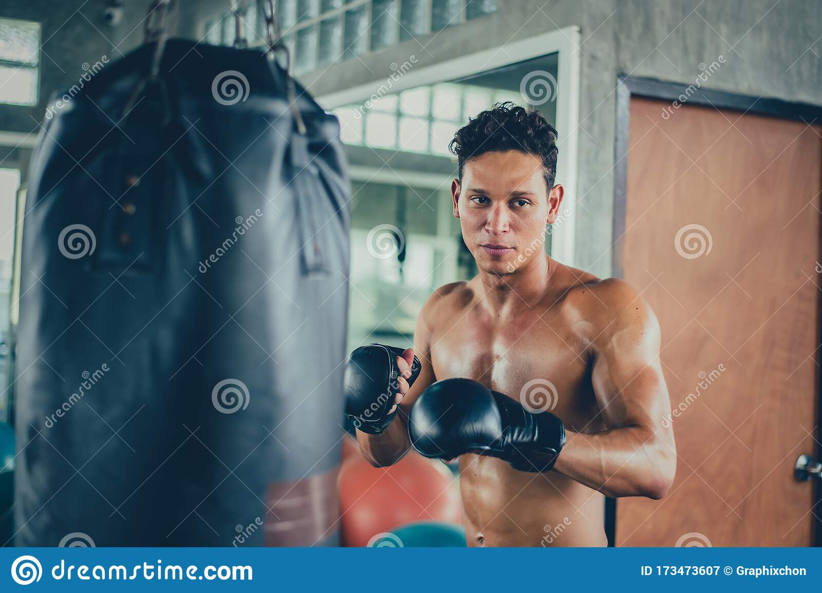 Sport Man Boxing At Fitness Gym Mental Health And