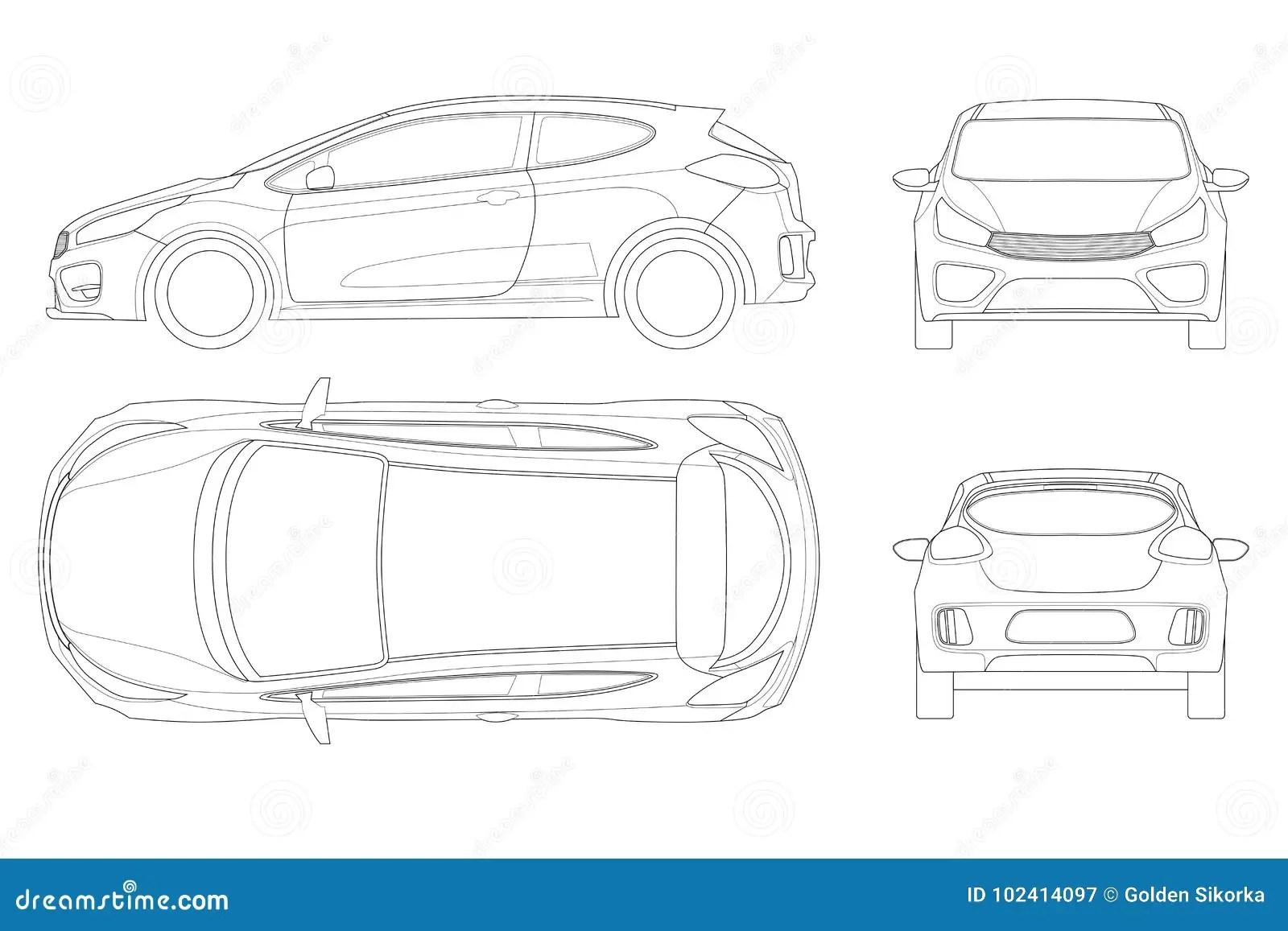 Sportcar Or Hatchback Vehicle Suv Car Set On Outline Template Stock Vector