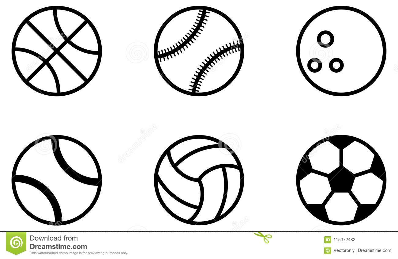 Sports Ball Icons Black Outline Stock Vector