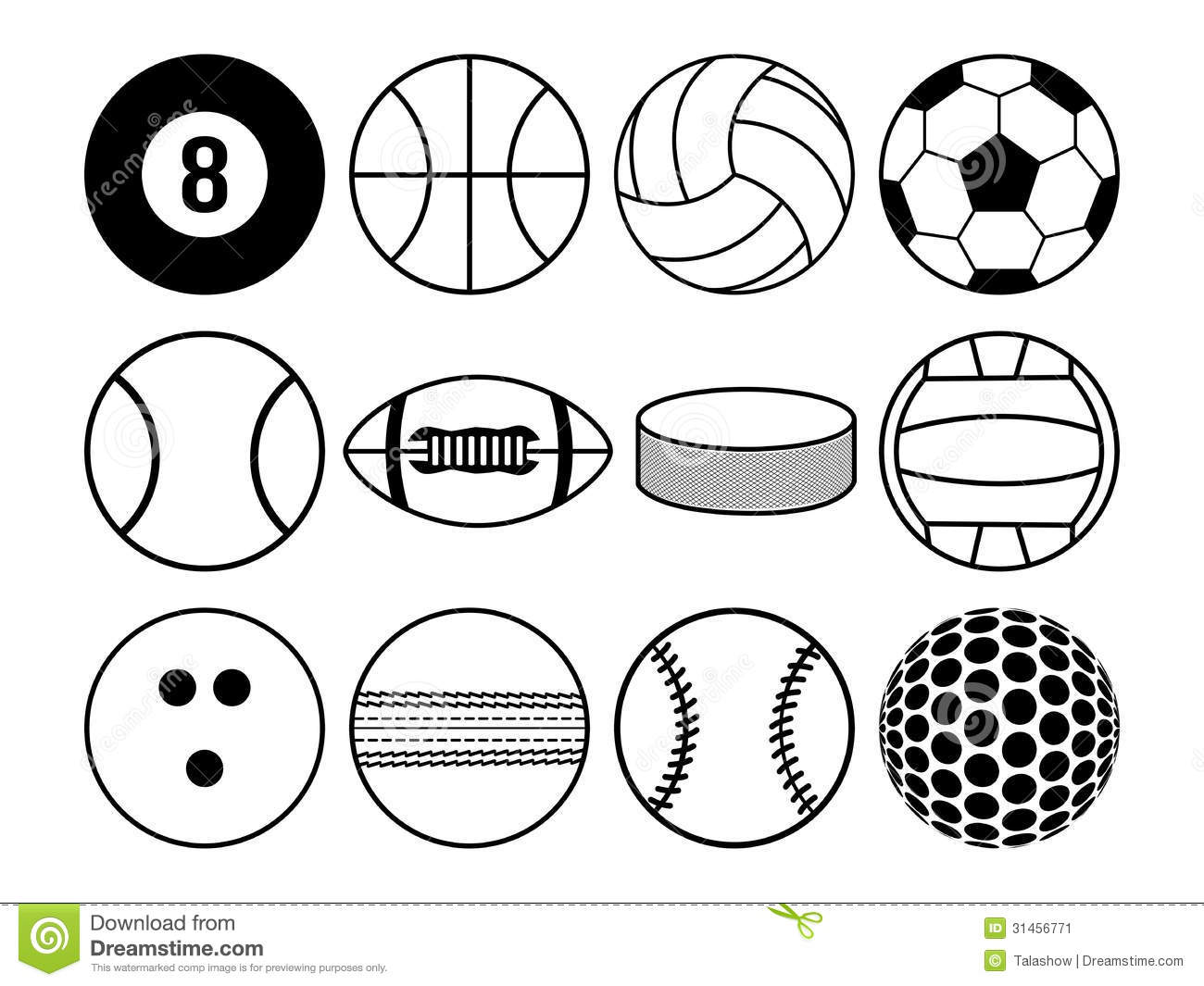 Sports Balls Black And White Stock Vector