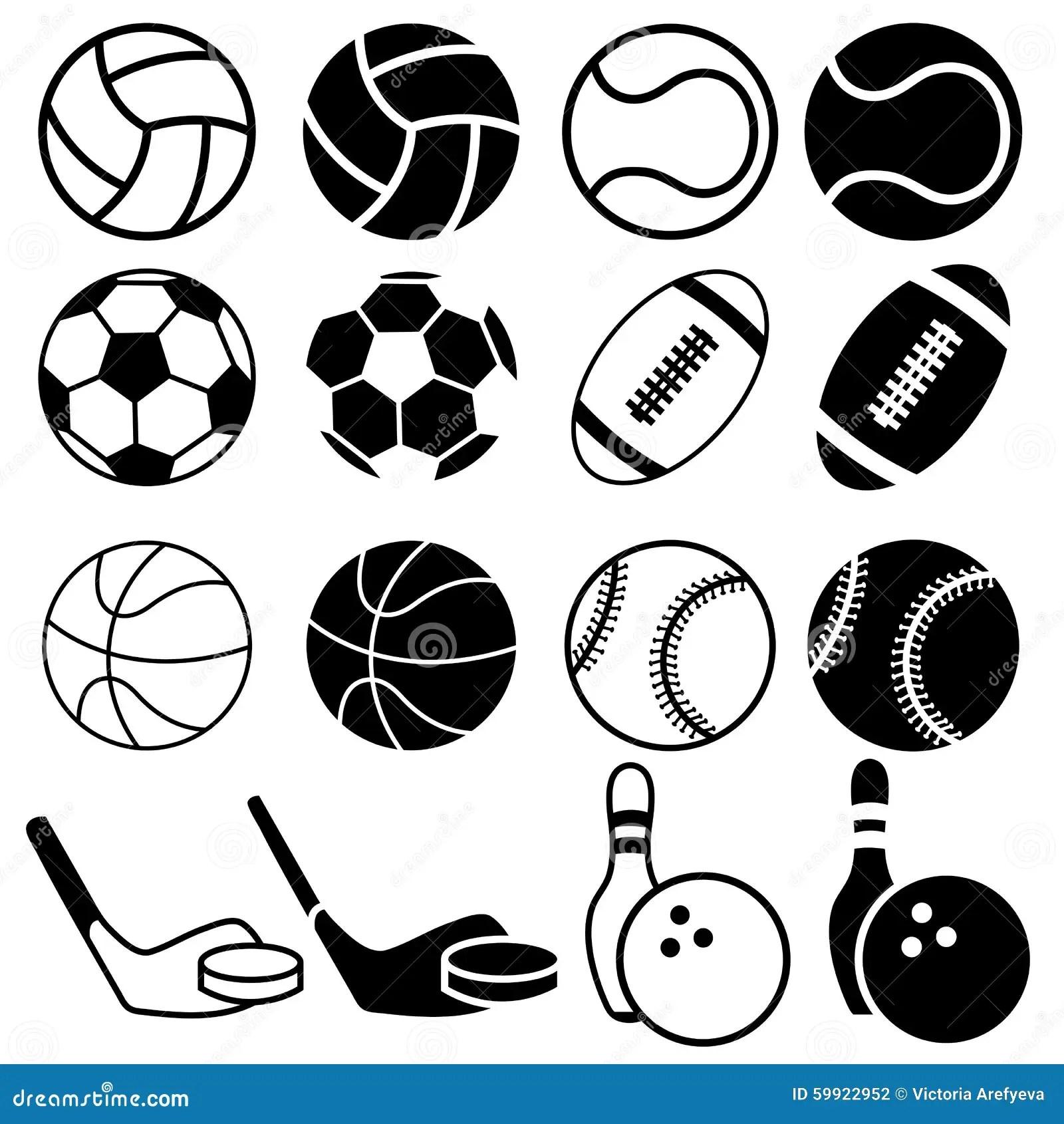 Sports Balls Icons Stock Illustration Image Of Black