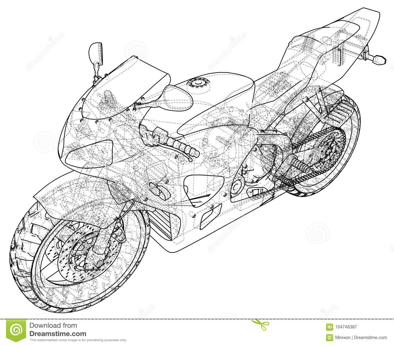Sports Bike Technical Wire-frame. EPS10 Format. Vector