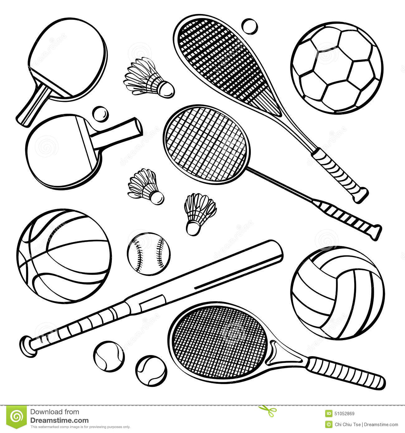 Sports Equipment Collections Stock Illustration