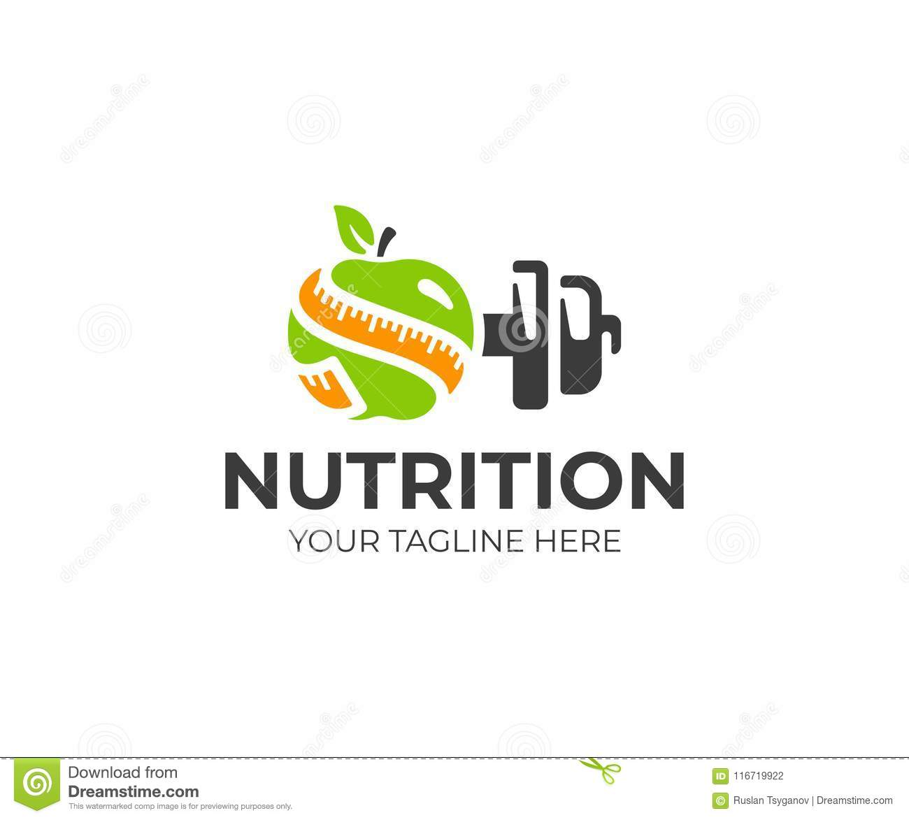 Sports Nutrition Logo Template. Green Apple With Measure