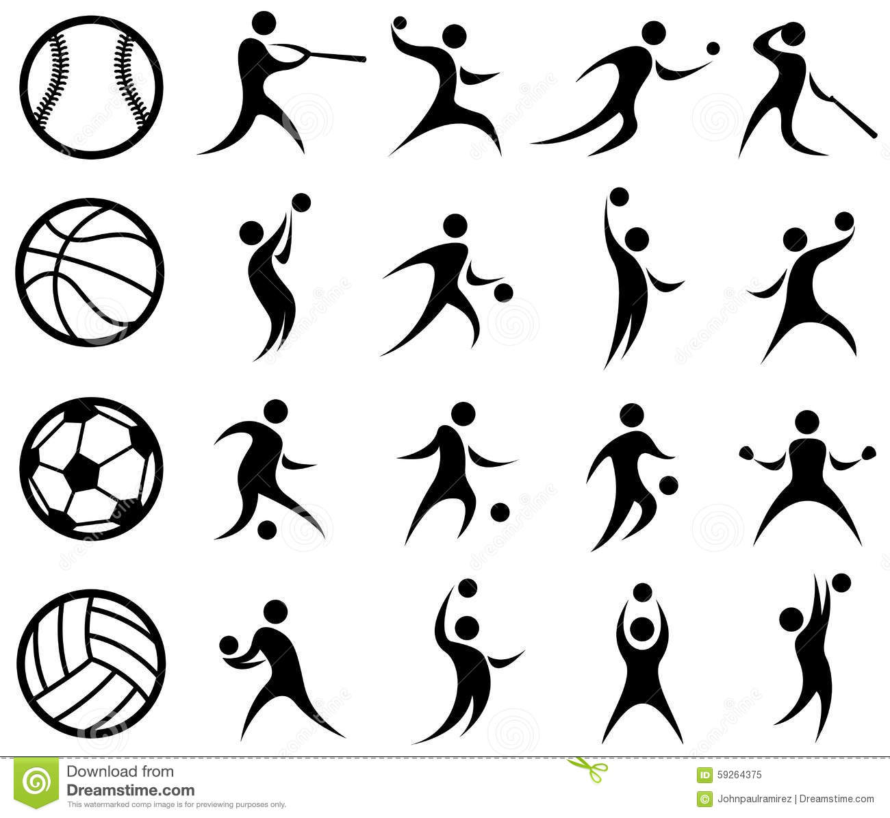 Sports Silhouette, Basketball, Baseball, Soccer