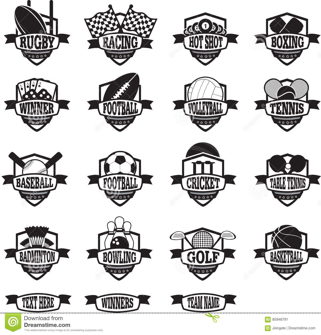 Sports Teams Badges Or Shields Black And White Stock