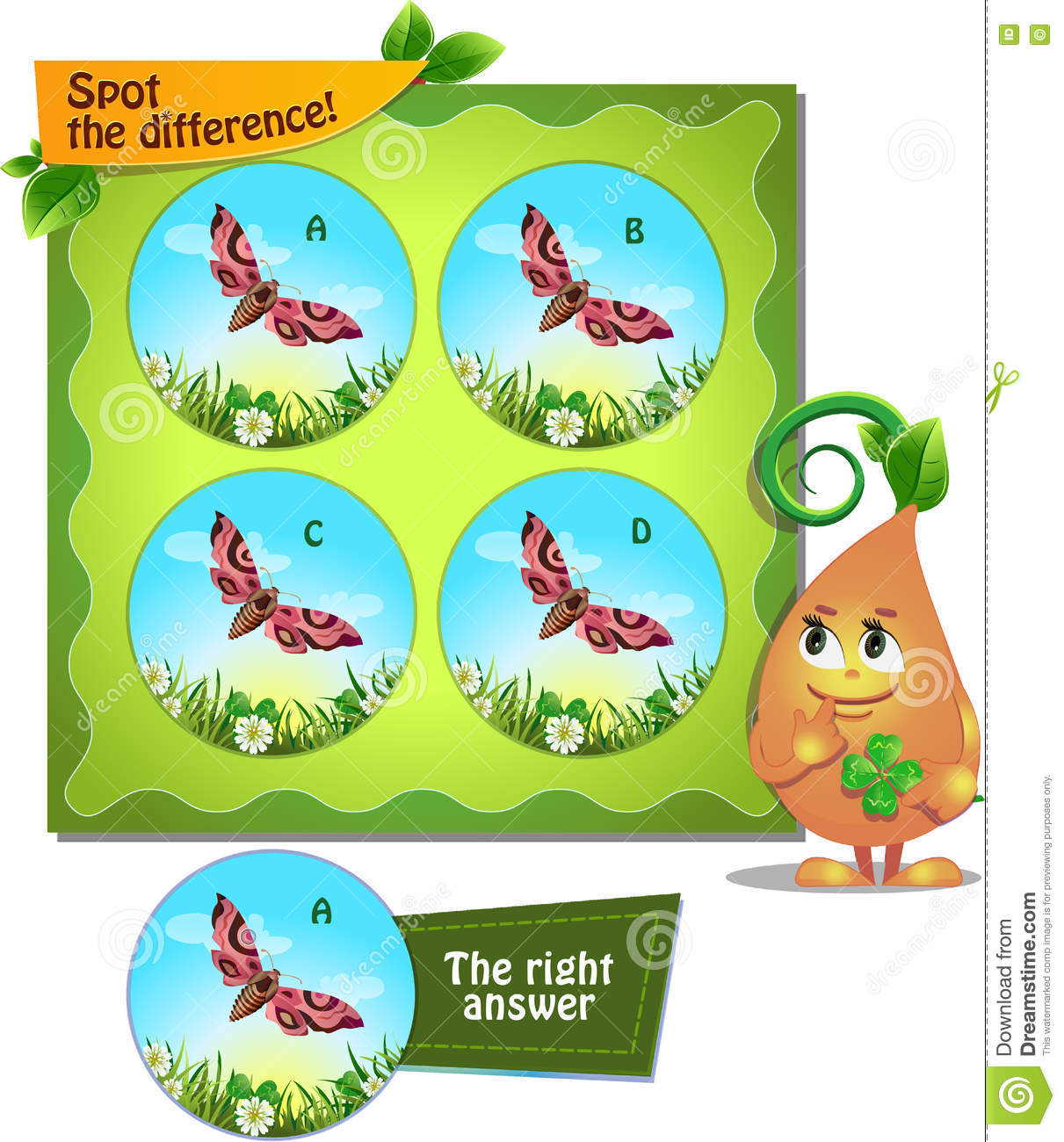 Spot The Difference Butterfly Stock Illustration