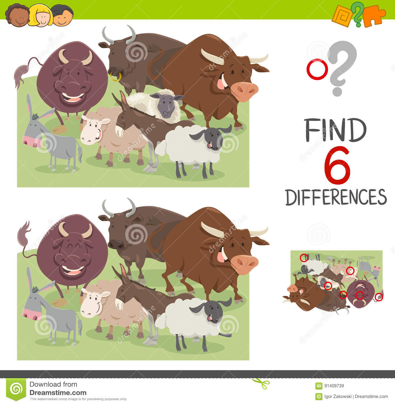 Spot The Differences Worksheet Stock Vector