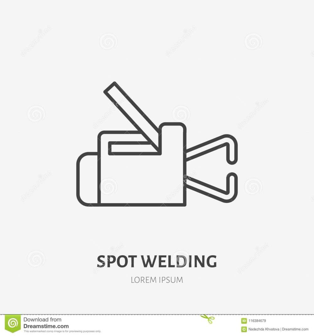 medium resolution of spot welding equipment flat line icon metal works sign thin linear logo for indastrial tools store welder services