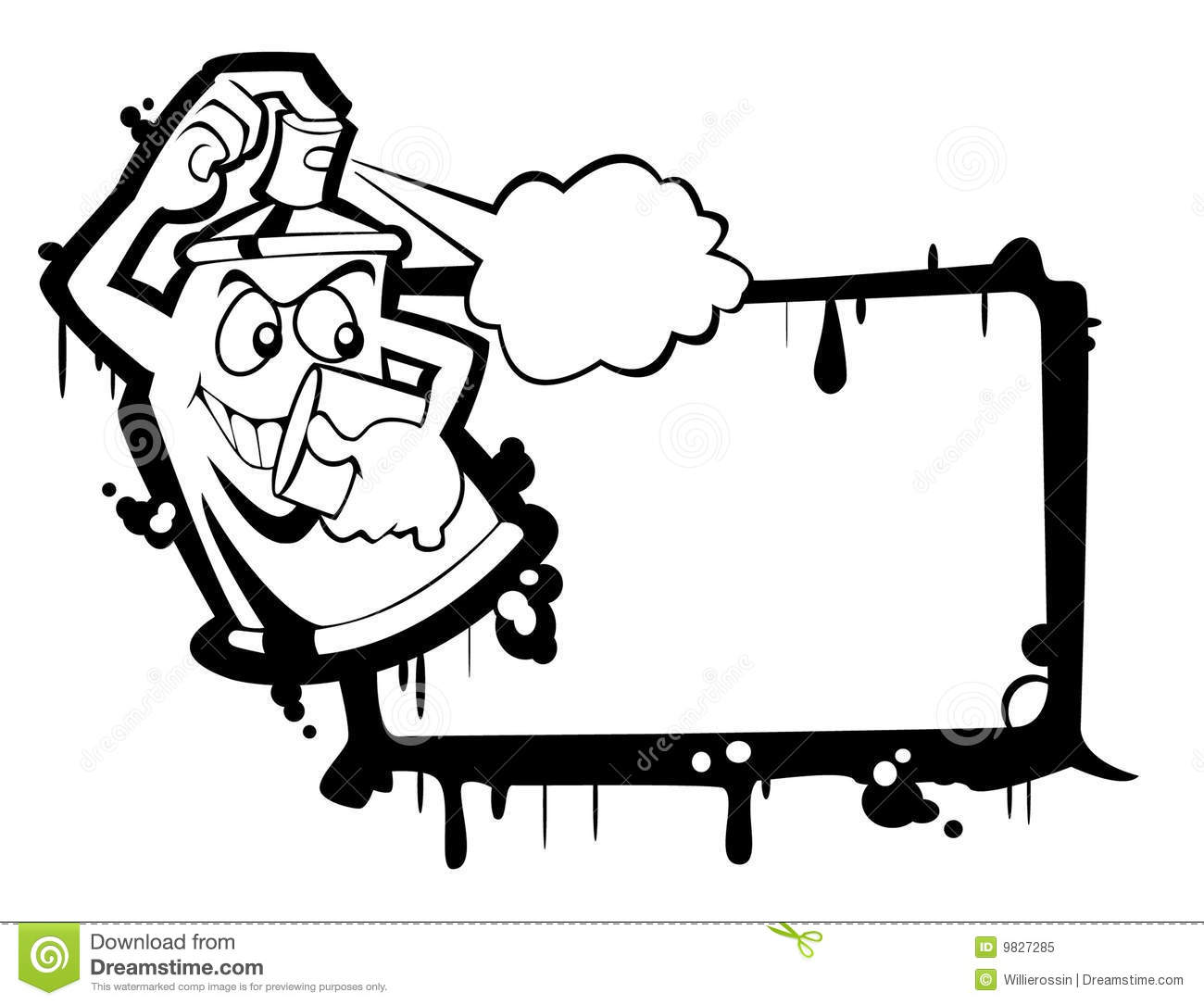 Spray Can Bw Stock Vector Illustration Of Frame Painting
