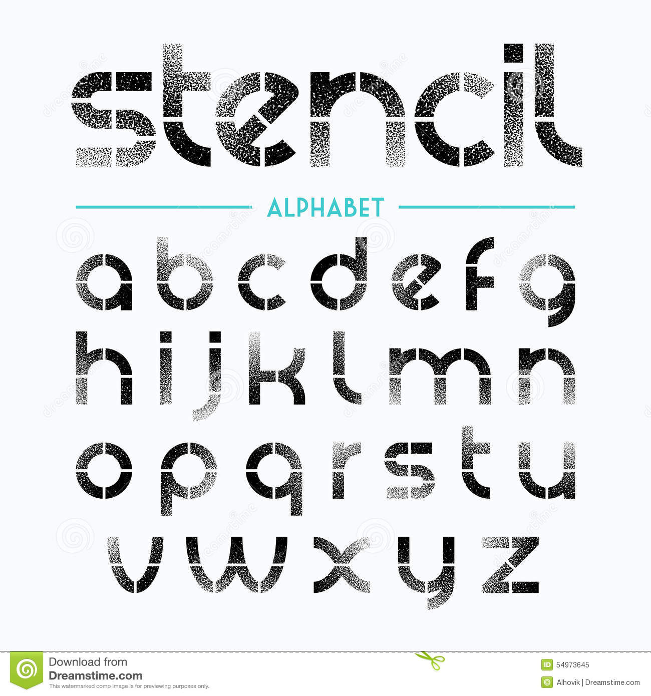 Spray Painted Stencil Alphabet Letters Stock Vector