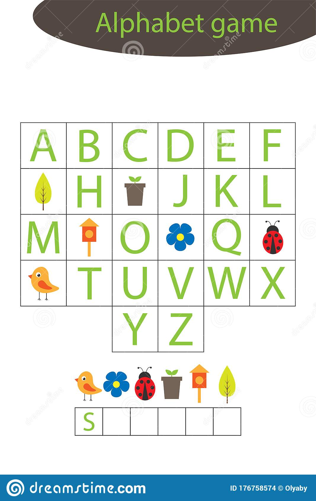 Spring Alphabet Game For Children Make A Word Preschool