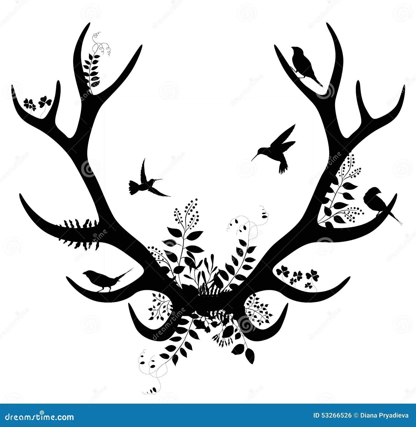 Spring Deer Silhouette Vector Illustration Stock Vector