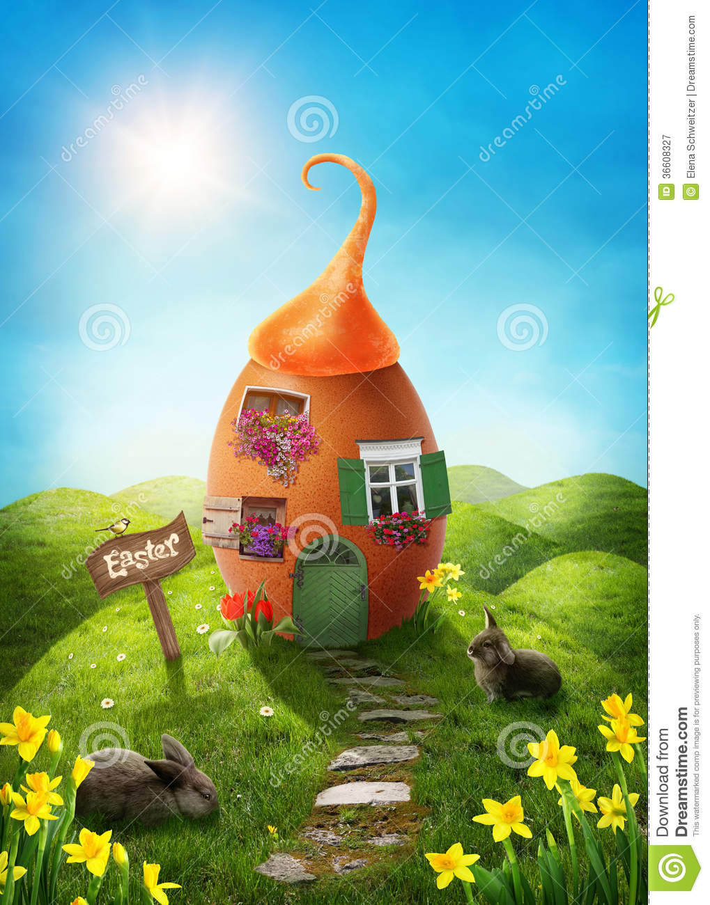 Spring easter meadow stock illustration Image of field  36608327
