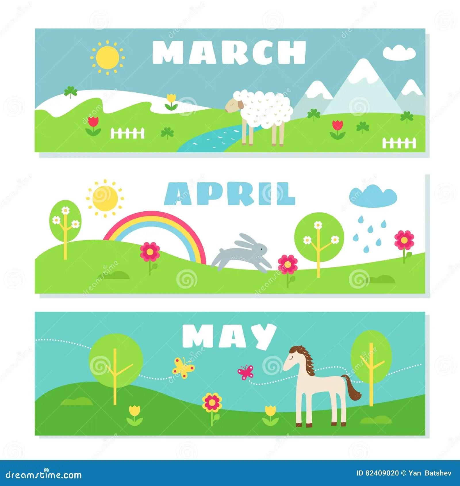 Spring Months Calendar Flashcards Set Stock Illustration