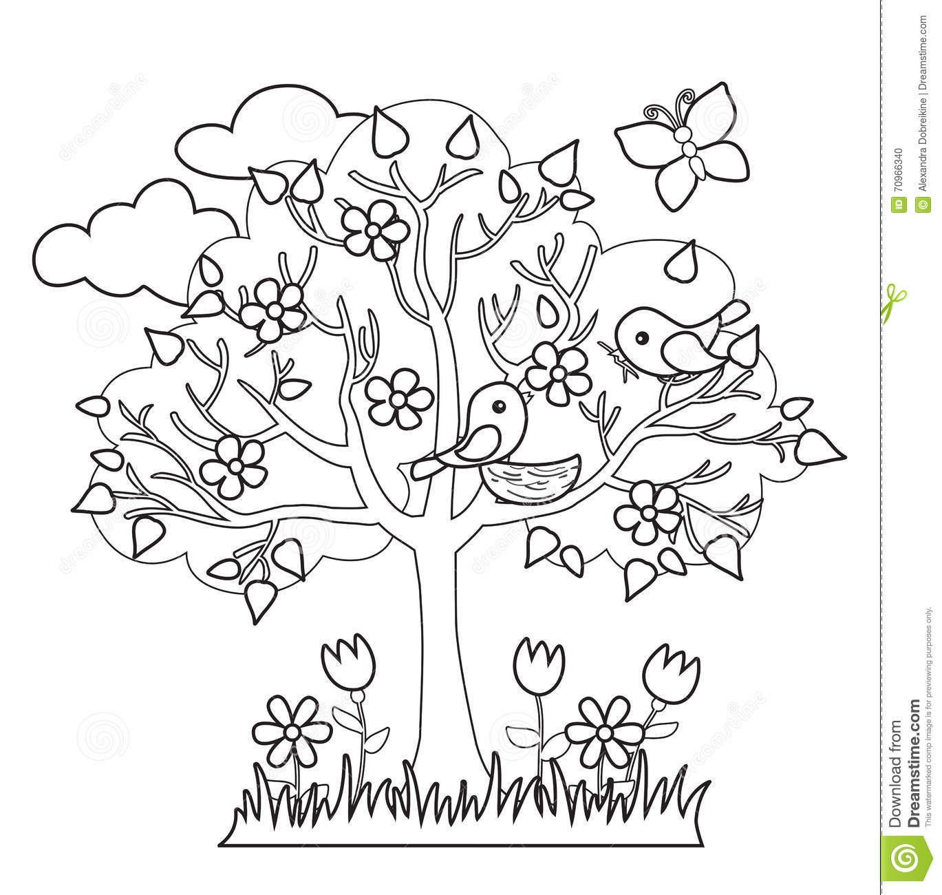 Spring Tree Birds Build Nests Seasonal Signs Of Spring Stock Vector
