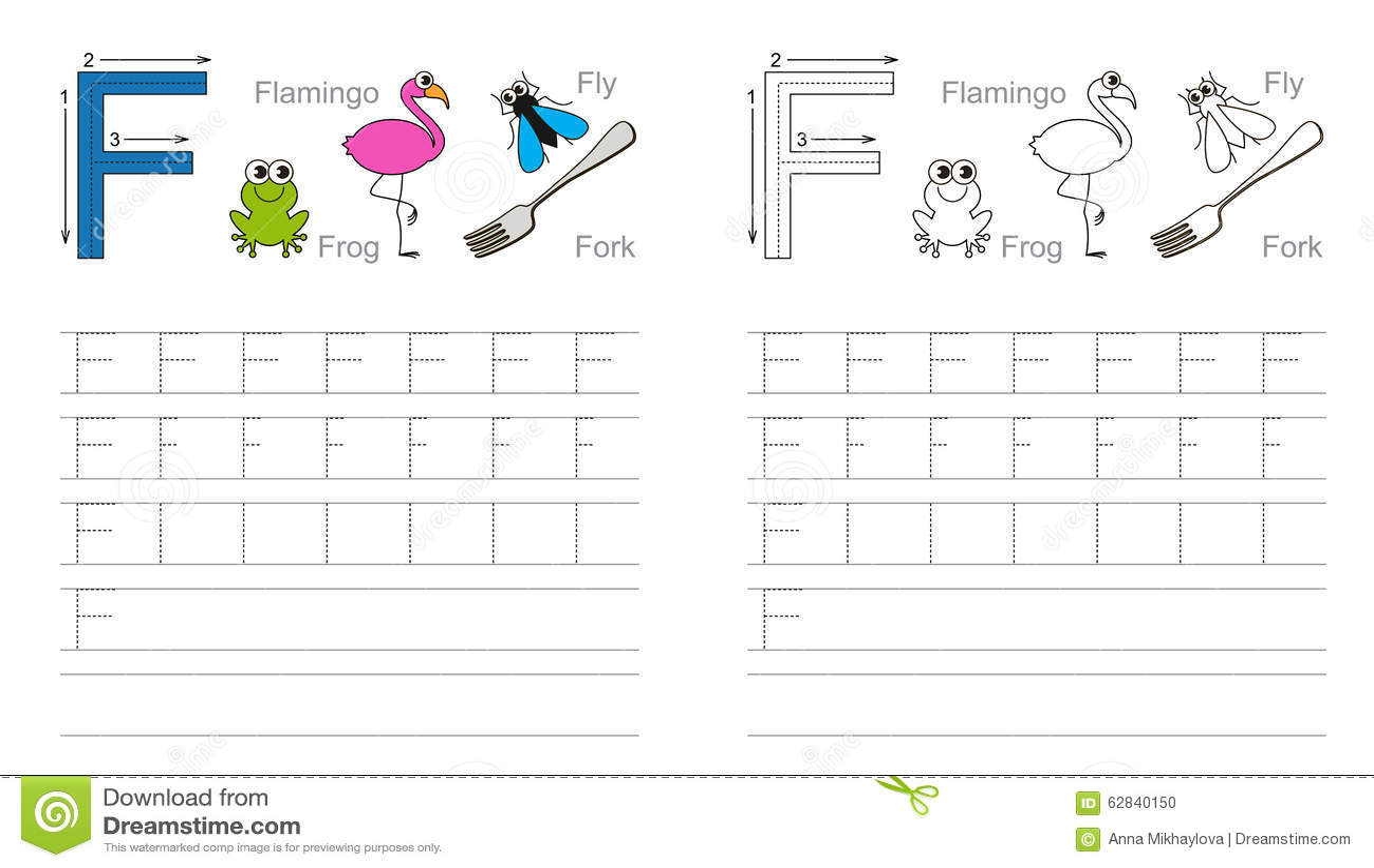 Spurarbeitsblatt Fur Buchstaben F Vektor Abbildung