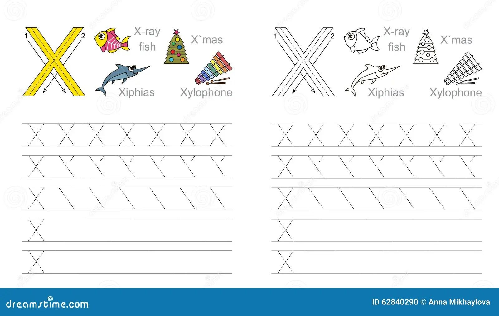 Spurarbeitsblatt Fur Buchstaben X Vektor Abbildung