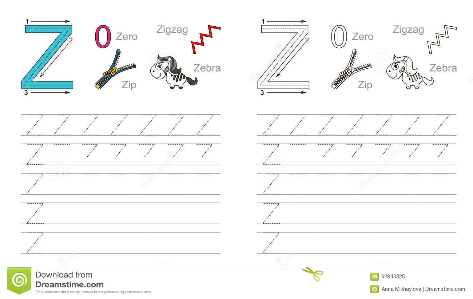 Spurarbeitsblatt Fur Buchstaben Z Vektor Abbildung