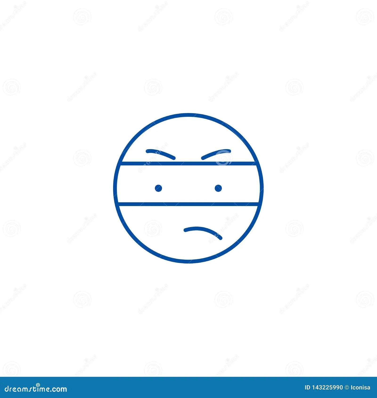 Spy Emoji Line Icon Concept Spy Emoji Flat Vector Symbol