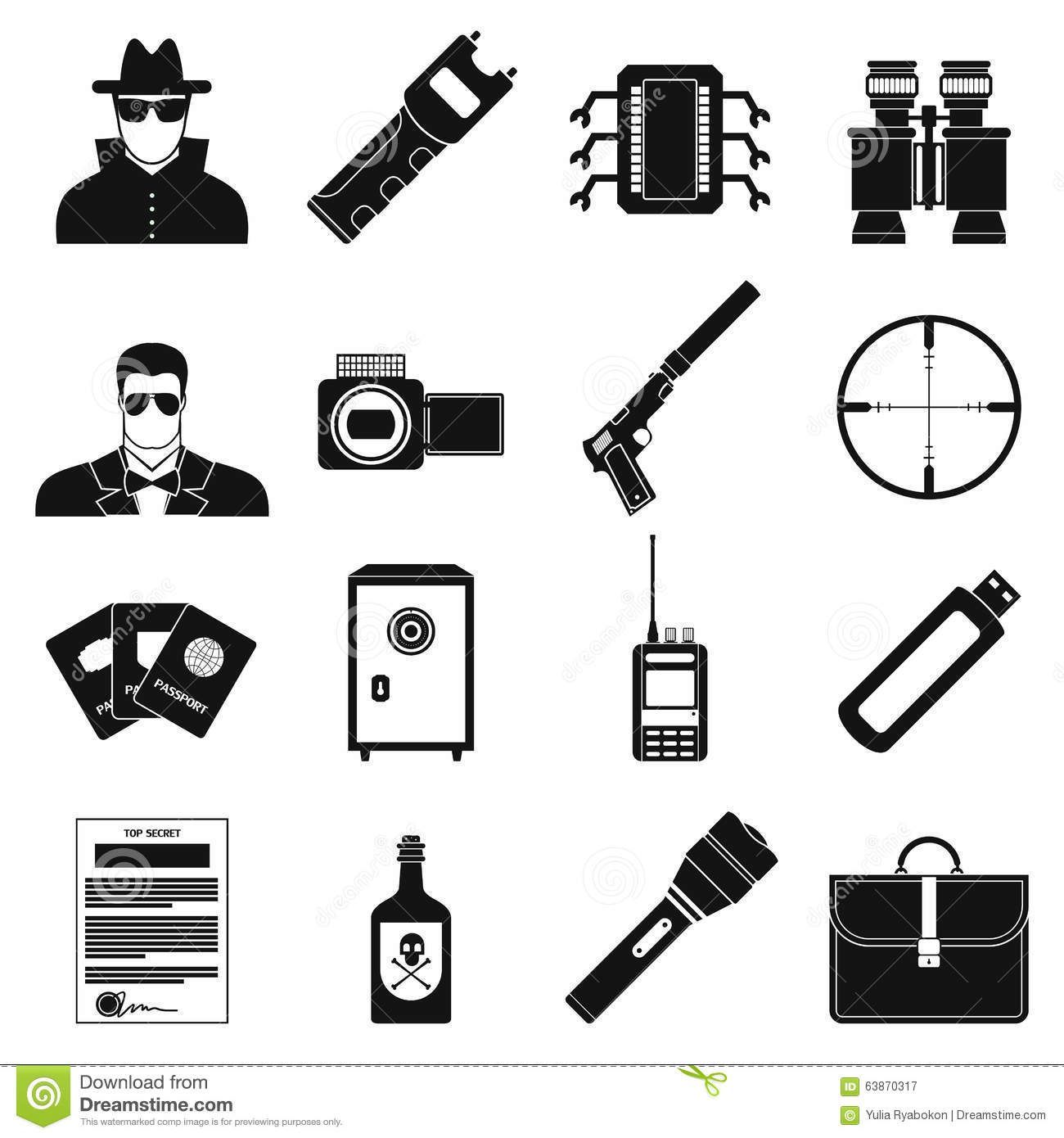 Spy simple icons stock vector. Image of agent, passport