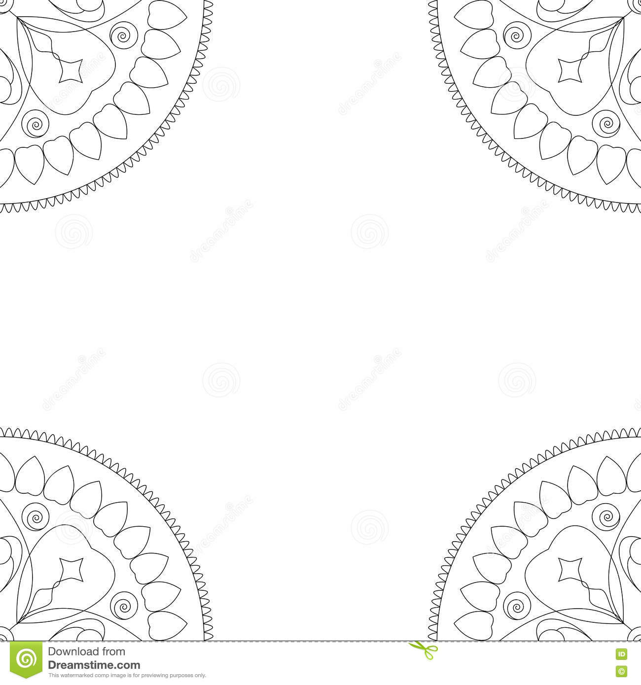 Square Coloring Book Cover Or Background Illustration With