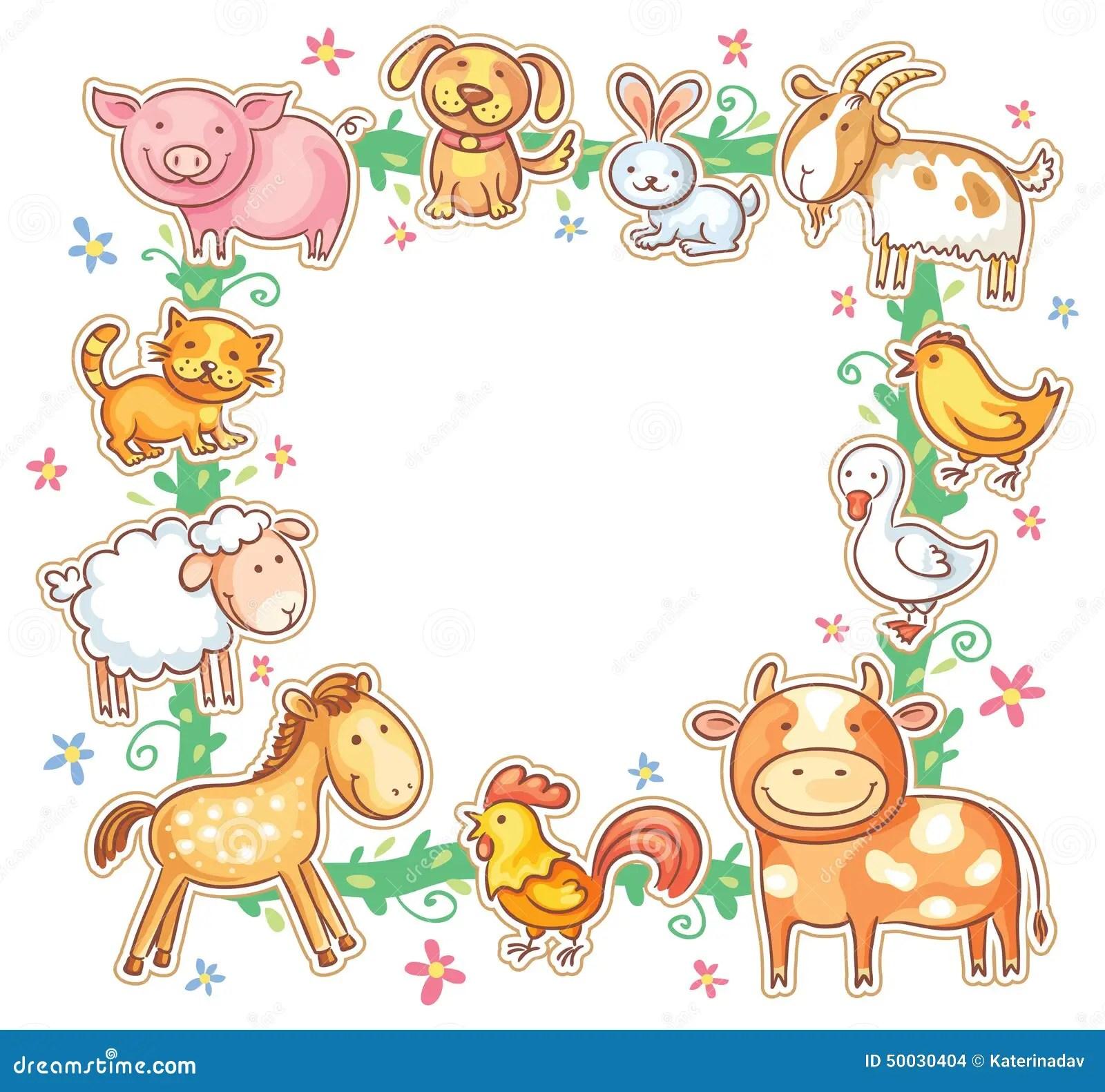 Square Frame With Cute Cartoon Farm Animals Stock Vector