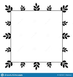 Square Frame With Simple Small Branches With Black Leaves Stock Vector Illustration of design doodle: 143819221