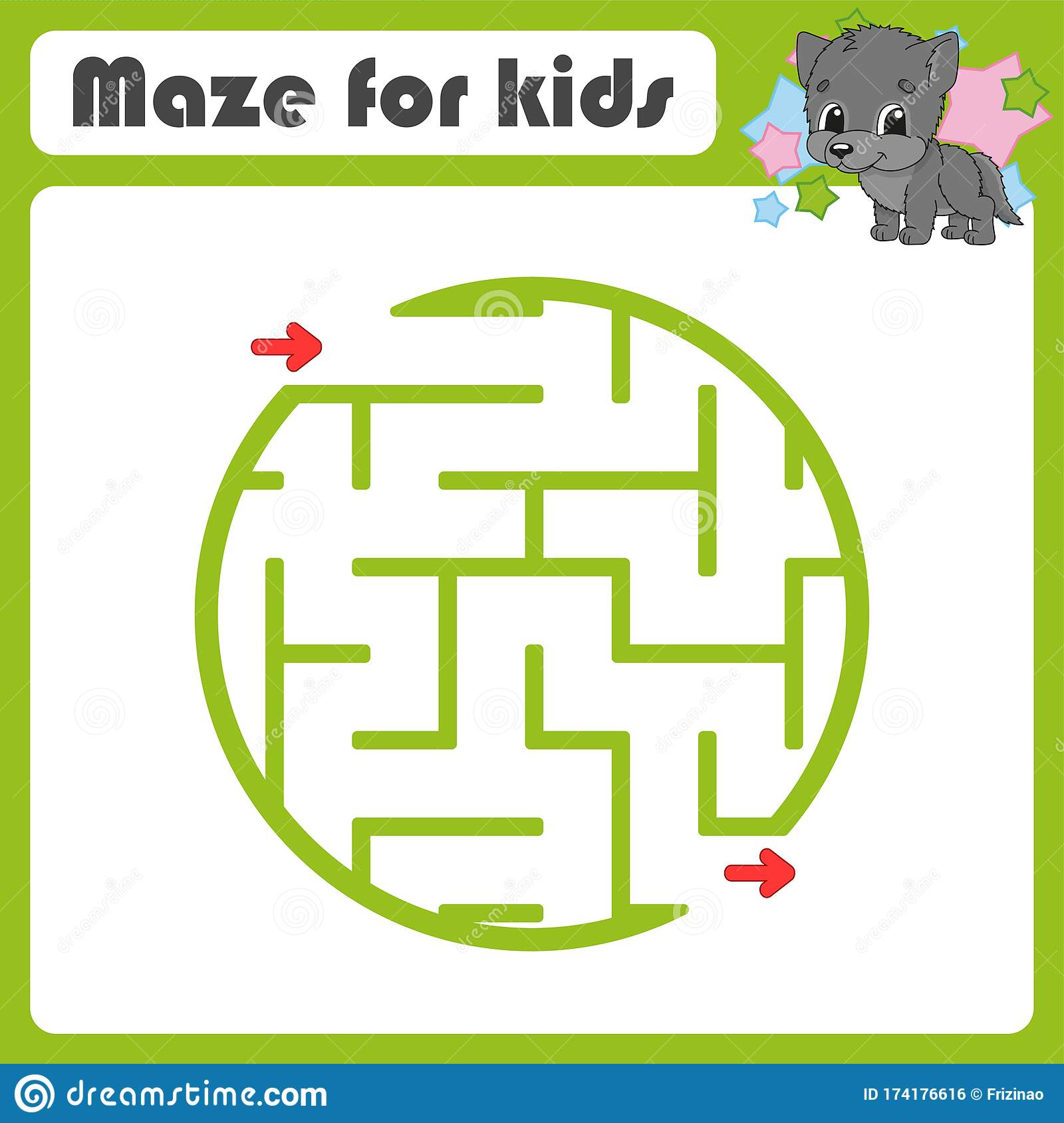 Square Maze Game For Kids Animal Wolf Puzzle For