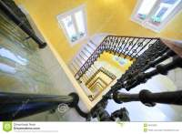 Square Spiral Staircase With Handrail Royalty Free Stock ...