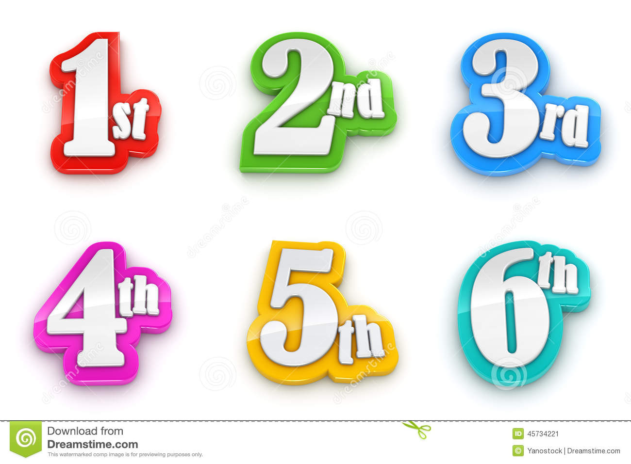 1st 2nd 3rd 4th 5th 6th Numbers On White Background Stock