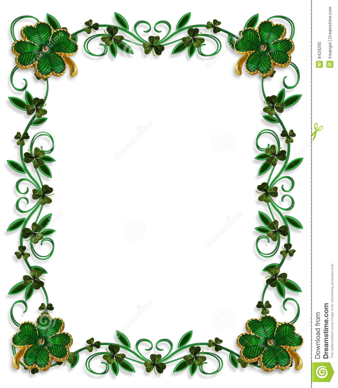 St Patricks Day Border Shamrocks Stock Illustration